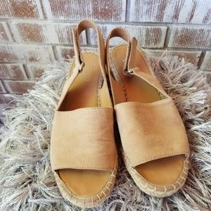 Franco Sarto Leather Wedge Sandals sz8M